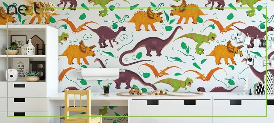 کاغذ دیواری اتاق کودک با طرح دایناسور