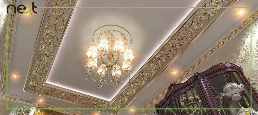 نمای گچبری سقف پذیرایی و نور پردازی دور لامپی