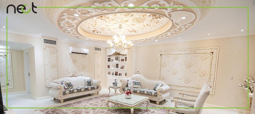 طرح خاص گچبری و نورپردازی سقف و دیوار پذیررایی