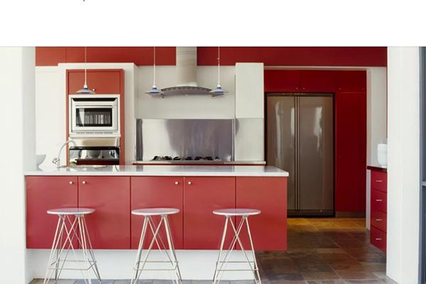 رنگ قرمز در نقاشی ساختمان برای آشپزخانه