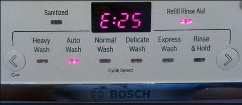 ارور E25 یا F25 ظرفشویی Bosch