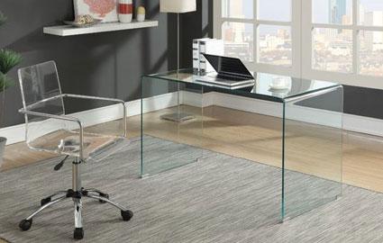 میز اداری تمام شیشه